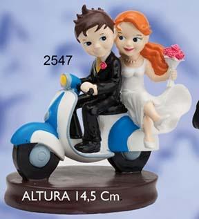 muñecos para tarta de boda, muñecos en moto, novios cartoon