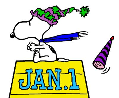 Snoopy Racing Into The New Year