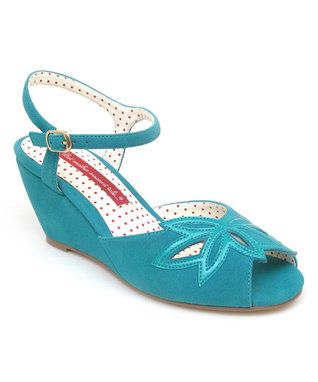 Turquoise Daisy Wedge B.A.I.T. - 1940s inspired sandal.   This one's already in my (vintage repro) wardrobe!