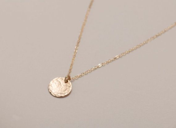 Small Gold Circle Necklace, Hammered Texture / Simple Everyday Necklace / Delicate SMALL DISC Necklace in 14k Gold Fill, LN209.hm