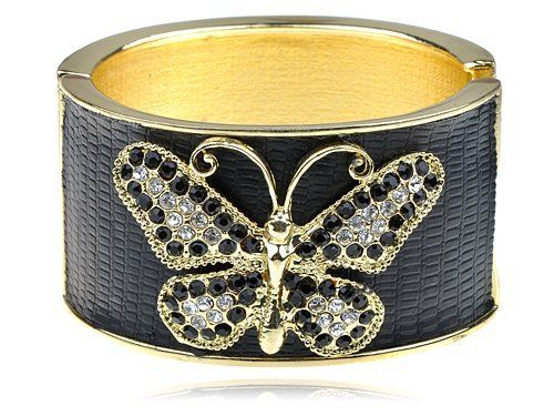 Golden Jet Black Faux Leather Crystal Rhinestone Butterfly Bracelet Bangle Cuff Alilang. $17.99