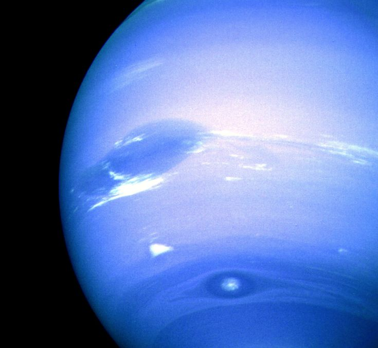 "New Horizons Zooms Past Neptune on 25th Anniversary of Voyager 2 25 years ago today Voyager 2 made the only close approach to Neptune, coming within 3,000 miles of the blue gas giant. At the time of the flyby, the spacecraft captured this incredible image of the planet's southern hemisphere. Two dark spots are visible: an Earth-sized Great Dark Spot located on the far left, and Dark Spot 2 located near bottom. A bright cloud dubbed ""Scooter"" accompanies the Great Dark Spot. Recent ..."