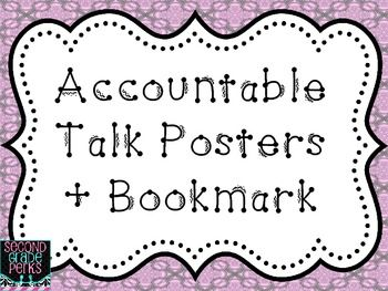 Accountable Talk Posters + Bookmark {Freebie}I have the posters on the wall for whole group discussion and the bookmarks I have copied on color paper and laminted in my small groups.Please take the time to leave some feedback if you download. Thanks!