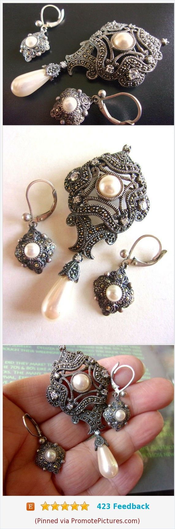 Marcasite Sterling Silver JUDITH JACK Brooch & Earrings, Victorian, Faux Pearl, Dangle, Vintage #judithjack #jewelryset #sterlingsilver #brooch https://www.etsy.com/RenaissanceFair/listing/559463124/marcasite-sterling-silver-judith-jack?ref=listings_manager_grid  (Pinned using https://PromotePictures.com)