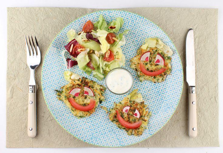 Ja! Natürlich Mini-Gemüserösti mit Kräutertopfen und Salat