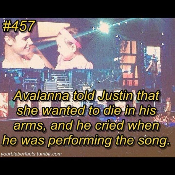 And people say he is heartless and is in it for the money...for those of you who dont know the angel Avalanna she is a little girl with cancer..and had a dream to meet Justin Bieber...her wish came true! Now Avalanna is passed and Justin cried all through his concert the day she died...do you still BELIEVE he is a heartless person from Canada?