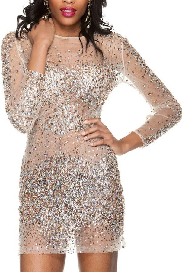 Jovani 7757 Sheer Crystal Encrusted Cocktail party dress