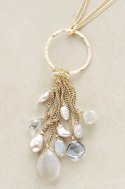 "Rainfall Pendant Necklace - anthropologie.com Ethereal elements swing from a delicate double-strand chain. From designer Dana Kellin. 14k gold fill, freshwater pearl, moonstone, quartz Lobster clasp Handmade in USA Style No. 38034898 Dimensions 32""L 2.75"" pendant"