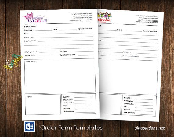 1000 ideas about Order Form – Order Form Layout