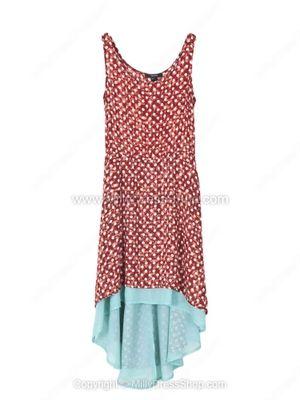 Red Sleeveless Polka Dot High Low Chiffon Dress