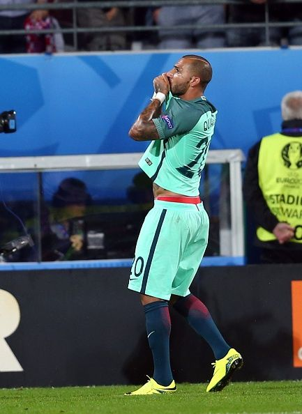 #EURO2016 Ricardo Quaresma of Portugal celebrates a goal during the Euro 2016 round of 16 football match between Croatia and Portugal at Stade BollaertDelelis...