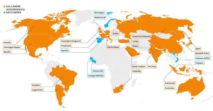 Weltkarte mit den farbig markierten Staaten der G20