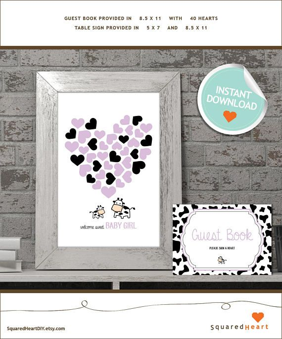 INSTANT DOWNLOAD Cow Baby Shower Guest Book // Purple, Black, Spots