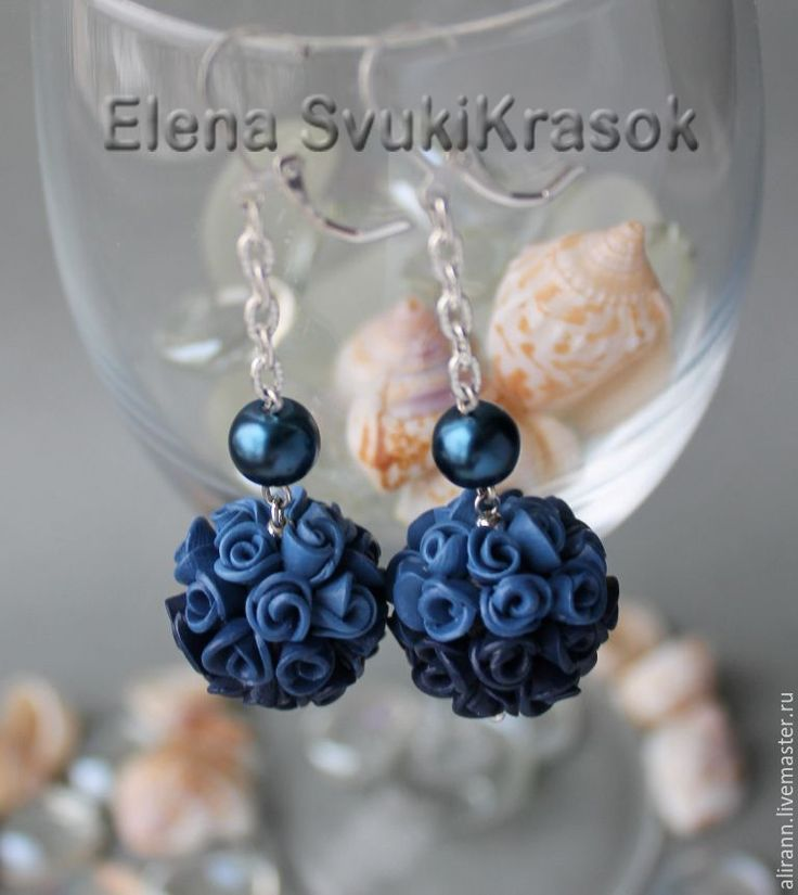 Купить Серьги шарики Роза индиго - васильковый, синий, синие серьги, индиго, серьги длинные
