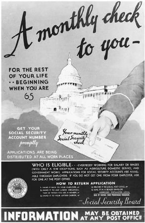 1935: Congress adopts the Social Security Act on August 14 for the purpose of providing retirement security for American workers. The Act is an attempt to limit what were seen as dangers in the modern American life, including old age, poverty, unemployment, and the burdens of widows and fatherless children. By signing this Act, President Roosevelt becomes the first president to advocate federal assistance for the elderly.