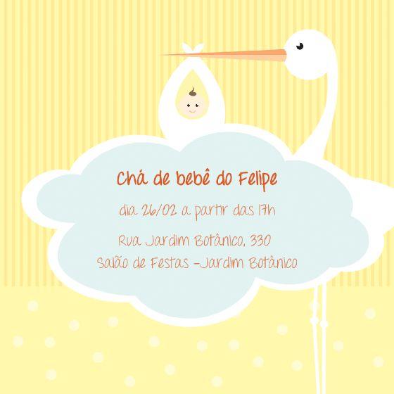 convite cegonha, cha de bebe, cha de fralda, listra, nuvem, poás, bolinhas, estampa. MobyPrints - Seus convites a um clique de você.