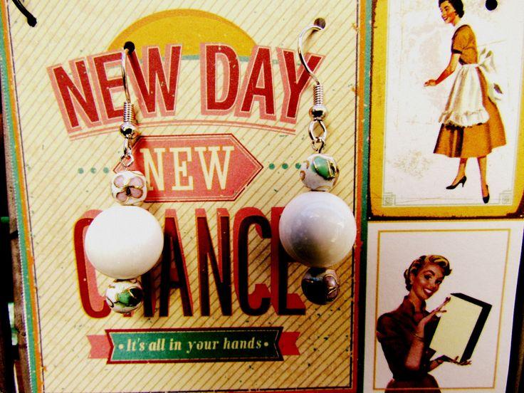 White Stone Earrings www.madeit.com.au/MadeByKasame