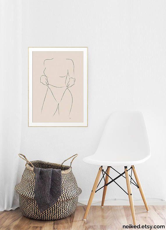 Woman Illustration Neutral Line Drawing Beige Minimalist Woman