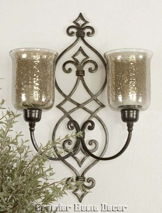 Glass Globes For Candle Wall Sconces : Old World Tuscan Wall Sconce Candleholder Glass Globes Candles Included candles Pinterest ...