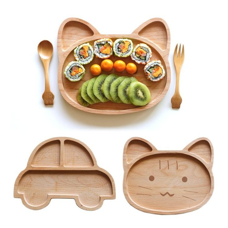 Natural Wood Kid's PlateEco-Friendly -- BPA free, lead free, melamine Free, NO harmful chemical materials, naturally harvested.Kid-Friendly - 3 fun shape/sizes make meal time fun and enjoyable for all kids. (Cat: 24*20cm, Bear: 28*18cm, Car: 26.5*19cm)Parent-Friendly - Healthiest plating option. Durable Hevea Brasiliensis wood with water polish, does not stain or pick up odors. Beautiful, natural quality you can feel.Unique -- Hand carved, giving each piece a unique grain and beautiful look…