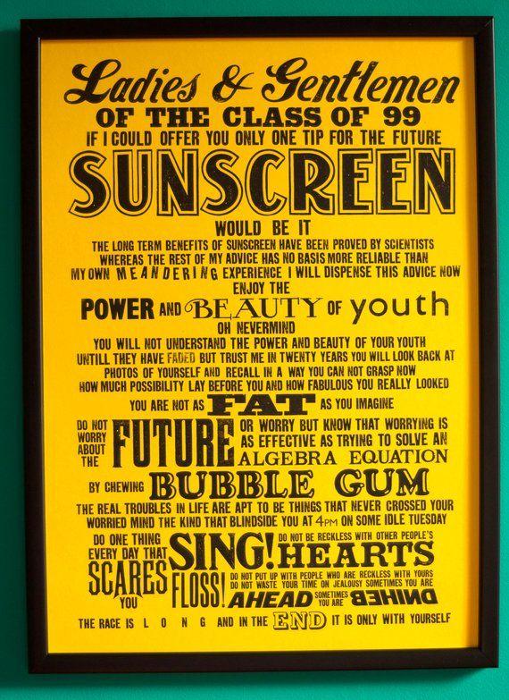Sunscreen Lyric Screenprint Baz Luhrmann Lyrics Print Etsy Lyric Prints Sunscreen Lyrics Music Print