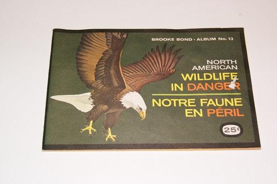 Vintage Brooke Bond Red Rose Tea Card Album for North American Wildlife in Danger series of cards