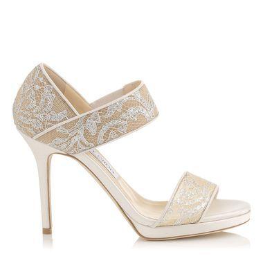 White Lace Jimmy Choo Sandals Wedding