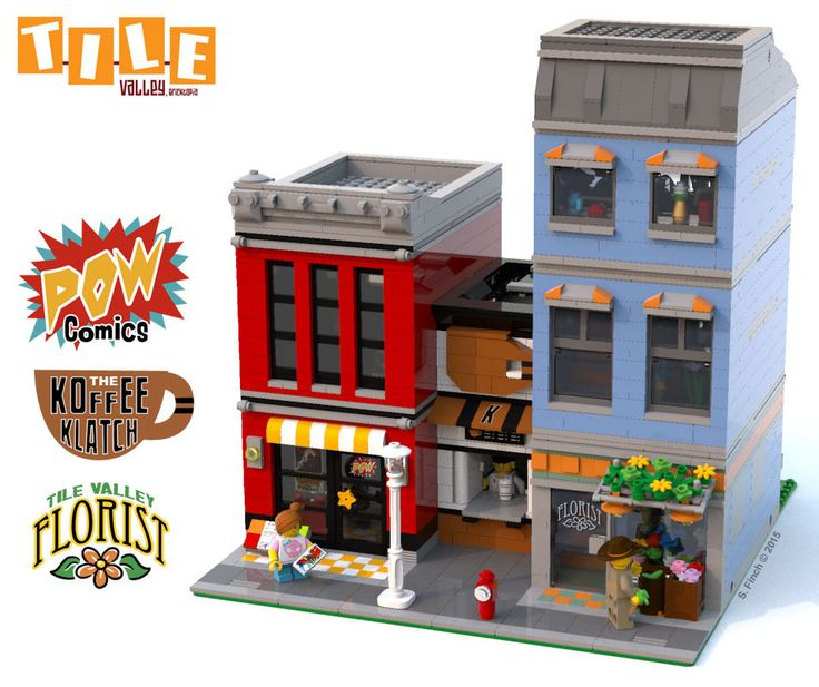 https://flic.kr/p/CobnDw | TVB: Tri Business Block | The Tri Business Block consists of a Comic Book store, Florist and a tiny Coffee Shop squished between... :D (Created in LEGO Digital Designer. Rendered using BlueRender w/ Sunflow MOD Post-Rendering details done in Photoshop)