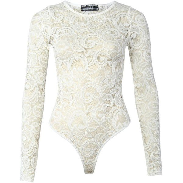 Pilot Luxe Lace Long Sleeve Bodysuit ($36) ❤ liked on Polyvore featuring intimates, shapewear, cream and tops