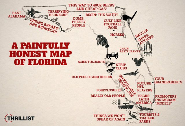 The Painfully Honest Map of Florida. Not here for all these stereotypes but really WHY is there always that inexplicable traffic jam?!