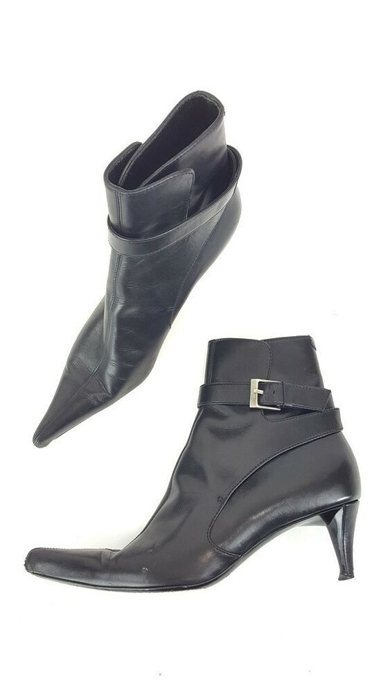 7d3590bced9 (eBay Advertisement) Yves Saint Laurent YSL Black Leather Pointed Toe Ankle  Boots Booties Shoes