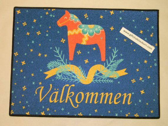 Scandinavian Swedish Valkommen Dala Horse Rug  by GiftChaletAuburn, $35.00