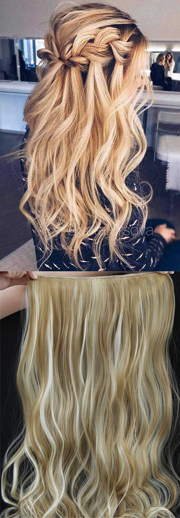 Mix Color Long Wave One Piece Clip In Hair Extension