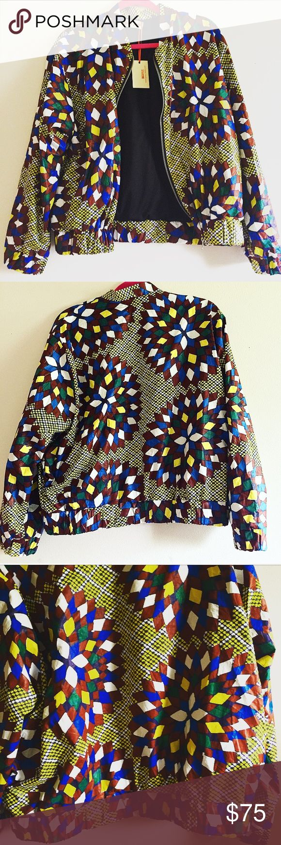 Custom Made African  Print Bomber jacket L African ethnic pattern print bomber jacket / custom made / size L / zip up front / made in Britain / perfect for chilly spring / summer nights Jackets & Coats