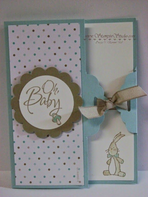 Stampin' Studio, Stampin' Up! Baby We've Grown, Scallop Tag Topper, Gate Fold, Fresh Prints DSP