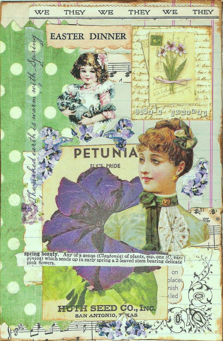 "https://flic.kr/p/bwnKJs | Glue Book Page | ""Petunias and Pansies.""  I hope I didn't make my glue book pages too ""busy"", but that's how i like them, so whatevs."