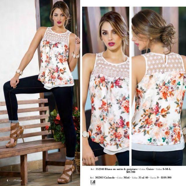 Ref. 454719 Blusa en lino & guipiure · Color: Beige · Tallas: S-M-L-XL-XXL  $119.990  Ref. 5311 Pantalón en Lino · Color: ...