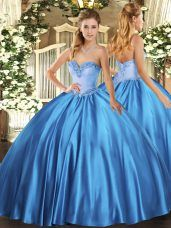Latest Baby Blue Satin Lace Up Sweetheart Sleeveless Floor Length Quinceanera Dresses Beading