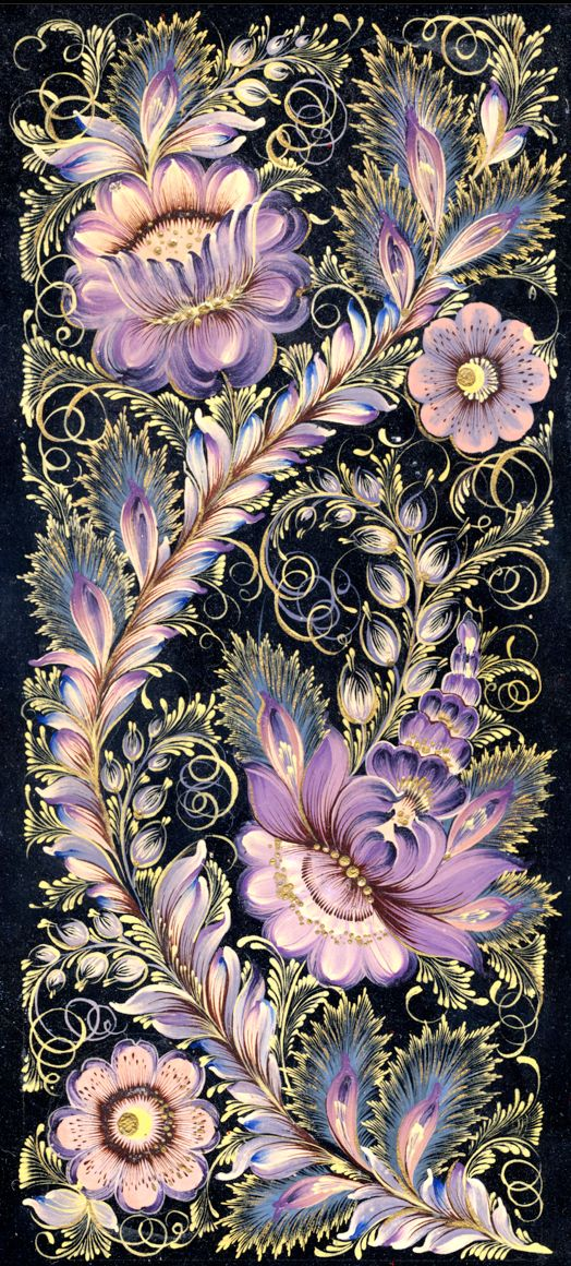 """Decorative solid wood lacquer painted wall plate done in the classic Ukrainian """"Petrykivka"""" art style. Personal project. Original size: 12 x 6.5."""