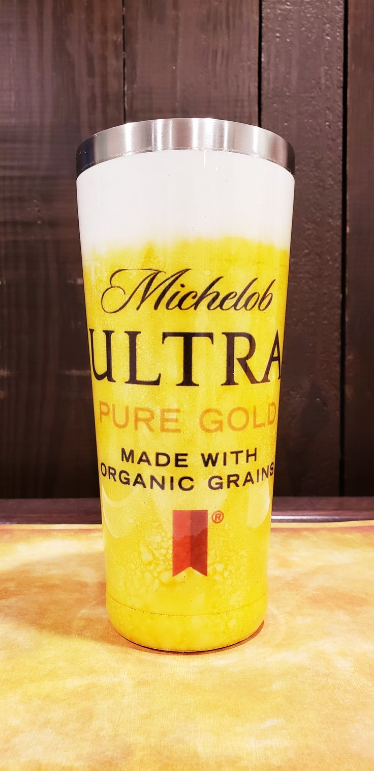Michelob Ultra Gold Painted Beer Tumbler Custom Tumblers