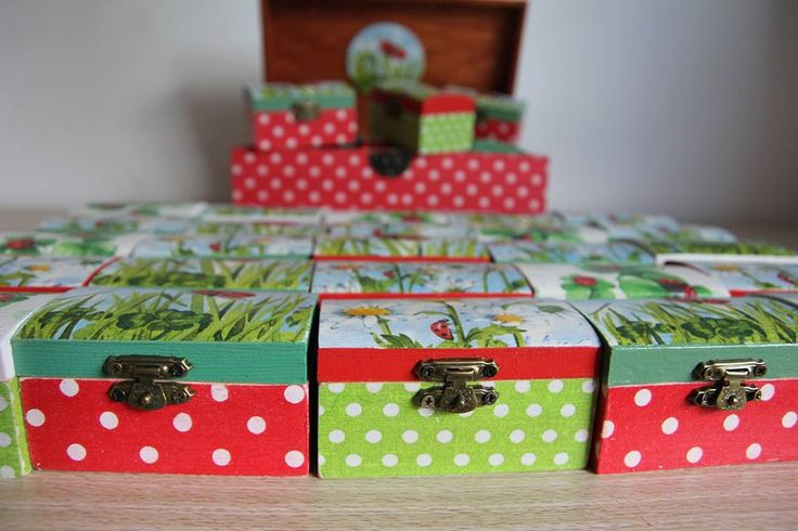 Decoupage boxes, lady bug boxes, handmade box