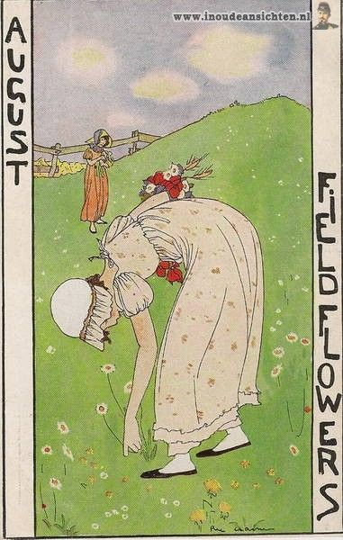 """""""Field Flowers"""", August, Months of the year postcard series, Rie Cramer (1887-1977), Netherlands, (134-8)"""
