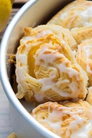 Easy to make Lemon Pinwheels drizzled with cream cheese for a sweet ...