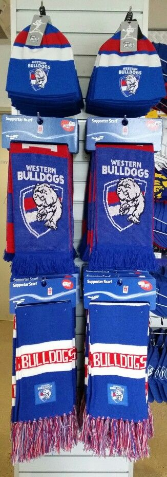 2015 Western Bulldogs BLK Beanie and assorted scarves available in Bulldogs Shop! #bemorebulldog