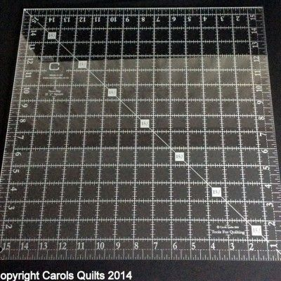 71. Quilting Square Ruler (non-slip): 15 1/2″ This is our largest Quilting Square Ruler at 15 1/2″.  All the numbers and markings are Laser etched which means that the engraving will never wear out.  It is non slip and the numbers are nice and large for ease of reading.