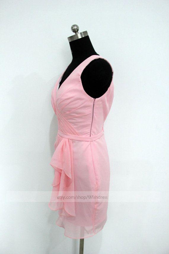 Mano volante blusa rosa de Dama de honor vestido de por Wishdress