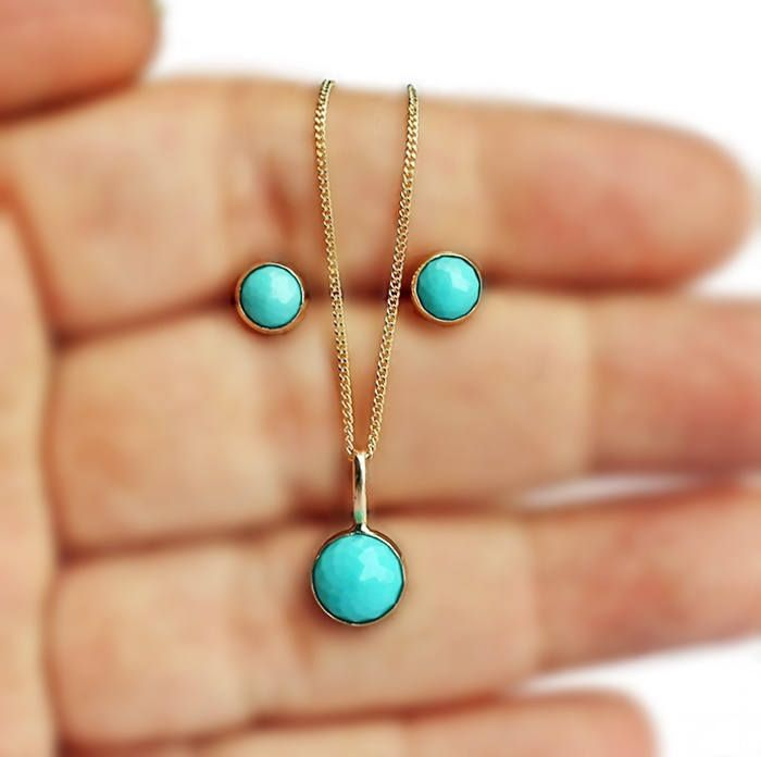 Turquoise 14k Gold Pendant Necklace Turquoise Gold Necklace Etsy 14k Gold Pendants Gold Pendant Solid Gold Earrings