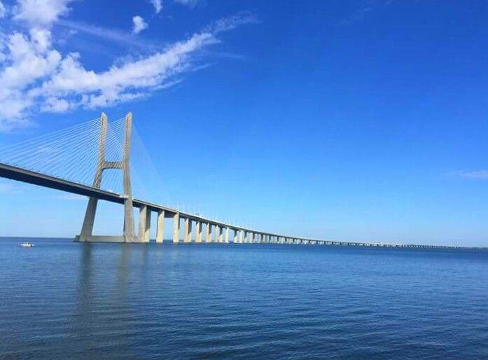 Intensive blue, when water and sky merge. Feeling infinity. Ponte Vasco da Gama, Parque das Nações, Lisboa, Portugal.