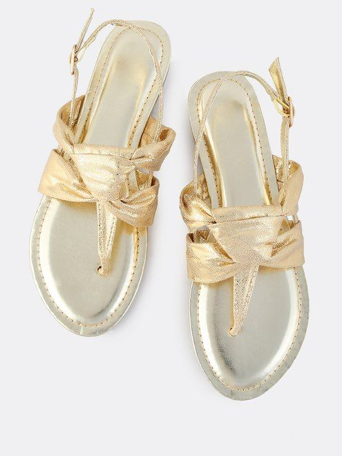afe16c58148 Metallic Knotted Thong Sandals GOLD