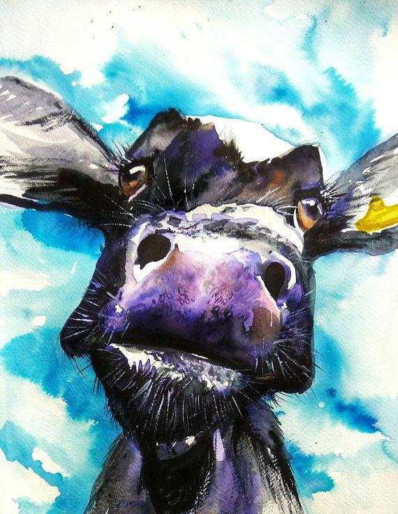 Black calf portrait original watercolor painting cow wall